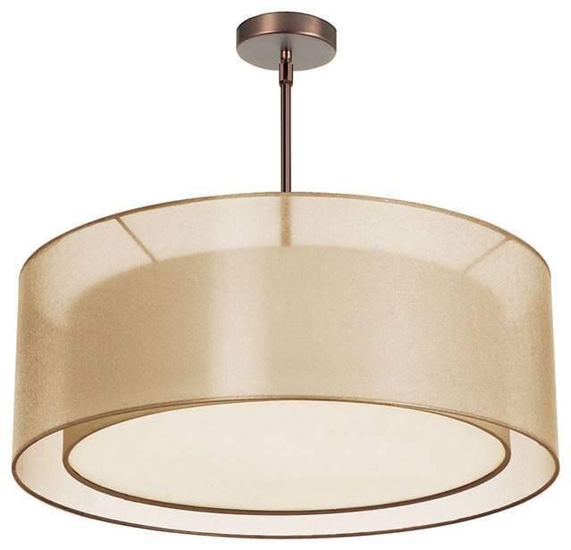 Dainolite 4Lt Double Drum Pendant Gold/white – Modern – Pendant In Double Pendant Lighting (#6 of 15)