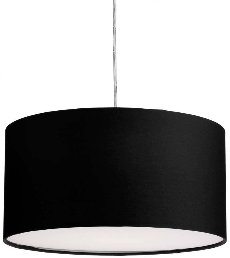 Dar Almeria 40Cm Black Drum Pendant Lamp Shade Alm1622 Intended For Black Drum Pendant Lights (#4 of 15)