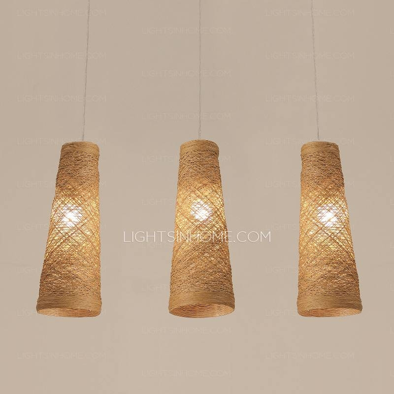 Decorative 3 Light Manual Rattan Shade Modern Pendant Lighting With Regard To Rattan Pendant Lighting (#8 of 15)