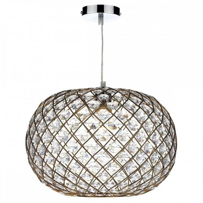 Decorative Non Electric Ceiling Pendant Shade In Gold W/ Faceted Beads For Non Electric Pendant Ceiling Lights (#14 of 15)