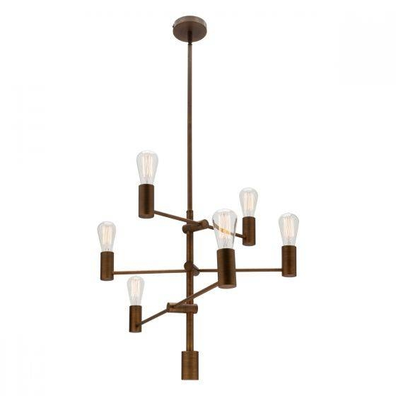 Diaz Aged Brass 6 Light Multi Arm Pendant Throughout Multi Arm Pendant Lights (#7 of 15)