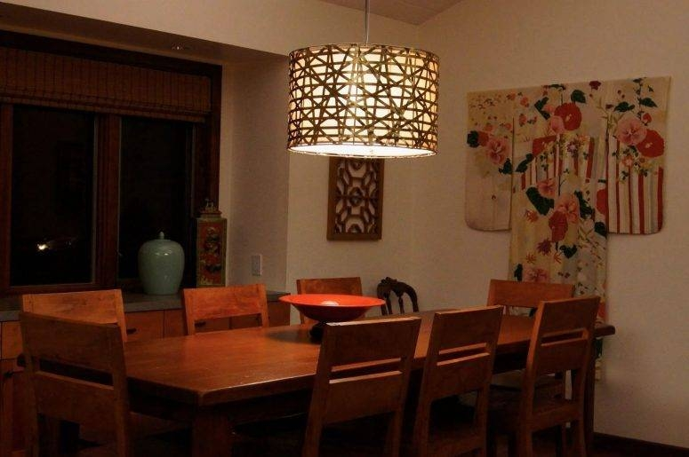 Dining Room Lighting Ikea Dark Brown Varnished Wooden Dining Table Pertaining To Ikea Drum Lights (#10 of 15)