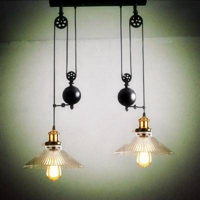 Discount 2 Wheels Kitchen Light Vintage Glass Pendant Light Pulley Within Pulley Pendant Lighting (#8 of 15)