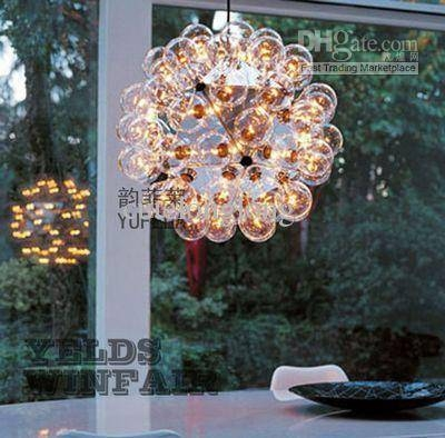Discount 60Cm 60 Lights Bubbles Glass Suspension Pendant Lamp Regarding Bubble Glass Pendant Lights (#9 of 15)