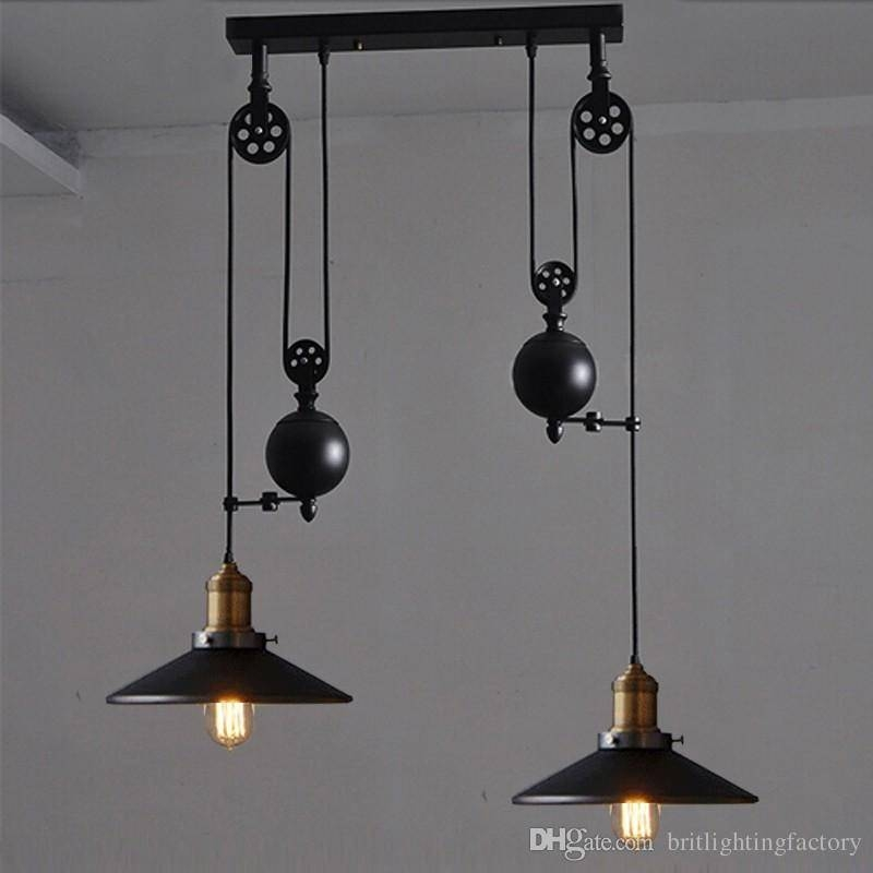 Discount Kitchen Rise Fall Lights Kitchen Pulley Lights Retro Throughout Pulley Pendant Lighting (#9 of 15)