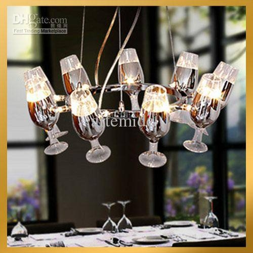 Discount Modern Clear Wineglass Wine Glass Chandelier Light With Wine Glass Pendant Lights (#8 of 15)