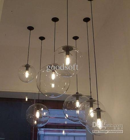 Discount Modern Minimalist Edison Bulbs Clear Light Ball Glass Pertaining To Large Glass Ball Pendant Lights (#4 of 15)