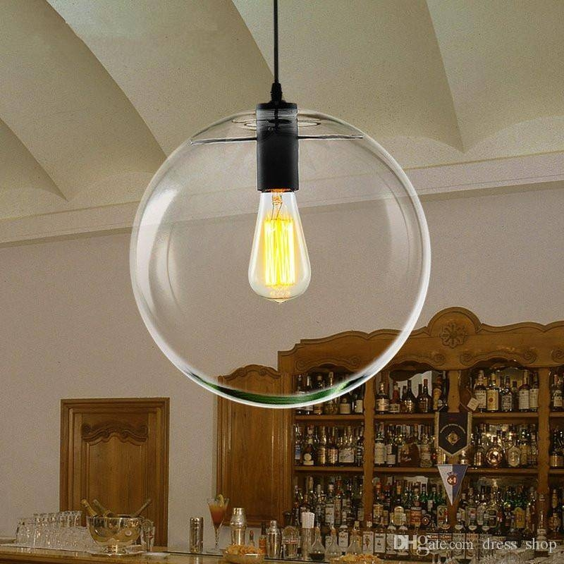 Discount Modern Nordic Lustre Globe Pendant Lights Glass Ball Lamp Throughout Large Glass Ball Pendant Lights (#5 of 15)