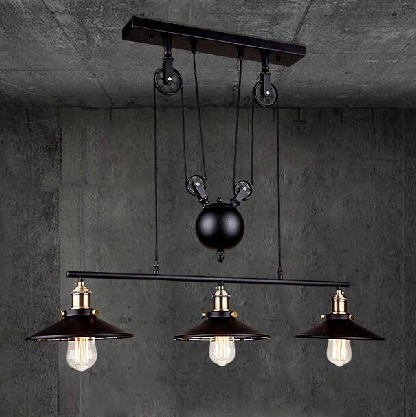 Discount Rh Loft Vintage Iron Industrial Led American Country With Regard To Pulley Pendant Lights (#10 of 15)