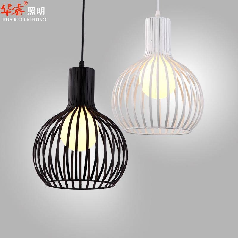 Discount Single Head White And Black Wrought Iron Bird Cage Lamp Within Bird Cage Pendant Lights (#10 of 15)