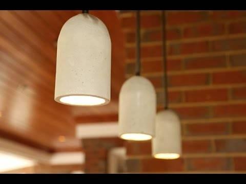 Diy Concrete Pendant Lights – Youtube Intended For Diy Concrete Pendant Lights (#5 of 15)