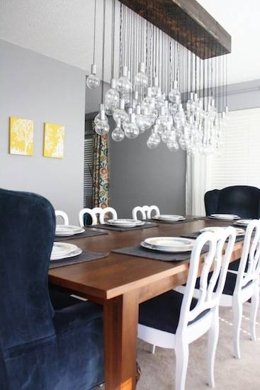 Diy Multi Light Bulb Dining Room Chandelier Within Diy Multi Pendant Lights (#7 of 15)