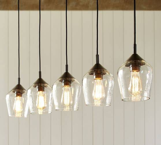 Donovan Glass 5 Light Pendant | Pottery Barn With Regard To Barn Pendant Light Fixtures (#6 of 15)
