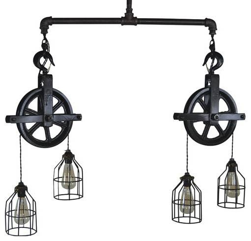 Double Barn Pulley Ceiling Light – Industrial – Pendant Lighting Throughout Double Pulley Pendant Lights (#8 of 15)