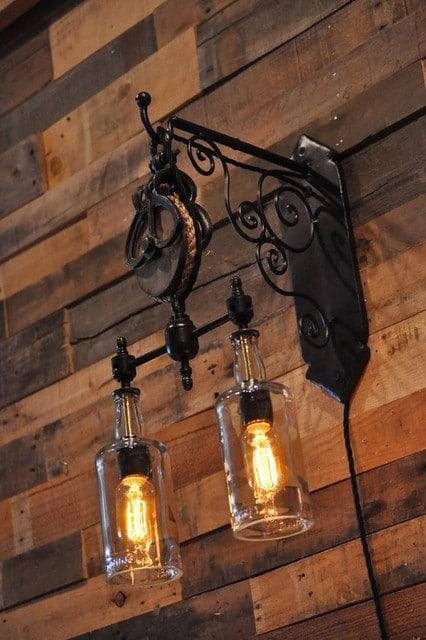 Double Whiskey Bottles Pulley Pendant Light | Id Lights In Double Pulley Pendant Lights (#9 of 15)