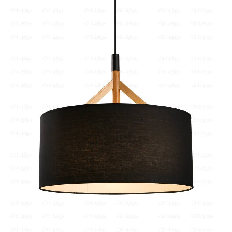 Drum Pendant Light Fabric Shade Black Throughout Brown Drum Pendant Lights (#8 of 15)