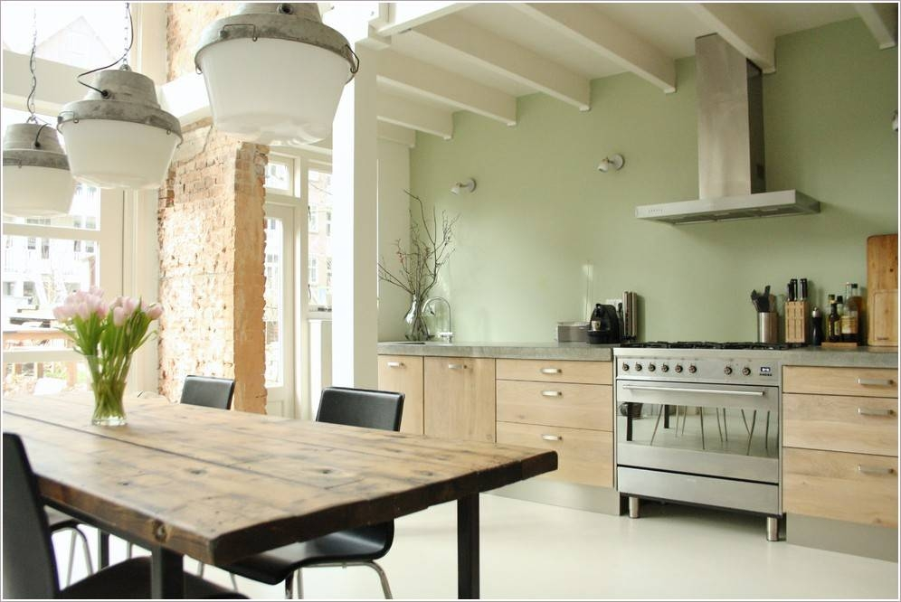 Engaging Light Green Kitchen Colors Salvaged Kitchen Cabinets Within Green Kitchen Pendant Lights (#6 of 15)