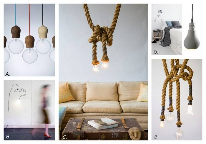 Exposed Bulb Lighting In Interiors | Design Lovers Blog For Rope Cord Pendant Lights (View 4 of 15)