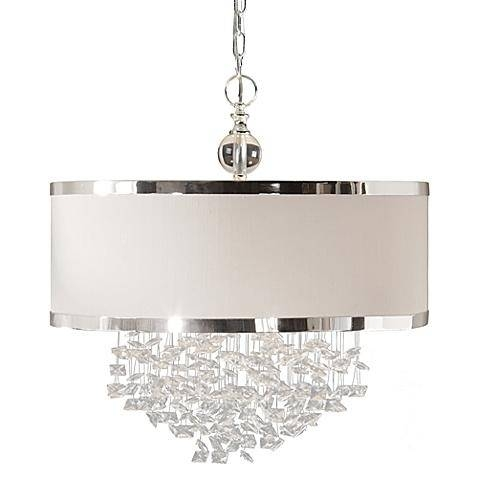 Fascination White 3 Light Hanging Shade In White Drum Pendants (View 9 of 15)