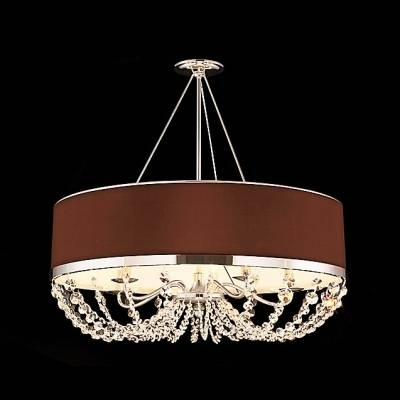Fashion Style Chandeliers, Shaded Lights, Drum Crystal Lights Inside Brown Drum Pendant Lights (#11 of 15)