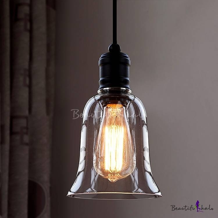 Popular Photo of Glass Bell Shaped Pendant Light