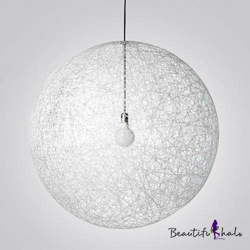 Fashion Style Linen Ball Modern Lighting – Beautifulhalo In Wire Ball Lights Pendants (#4 of 15)
