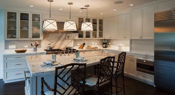 Faux Bamboo Counter Stools – Transitional – Kitchen – Hillary In Grosvenor Pendant Lights (#5 of 15)