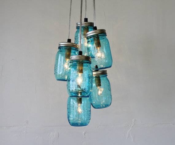 Feelin' Blue Mason Jar Chandelier Featuring 6 Blue Perfect For Blue Mason Jar Lights Fixtures (#12 of 15)