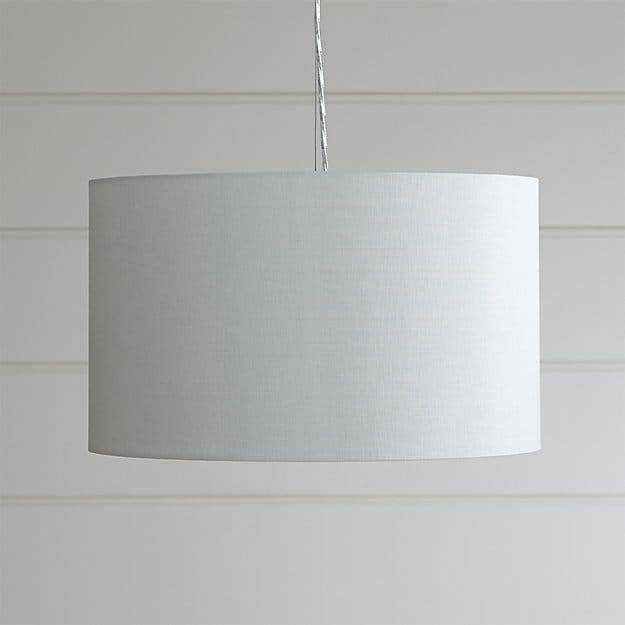 Finley Small White Pendant Light | Crate And Barrel Regarding Black And White Drum Pendant Lights (View 15 of 15)