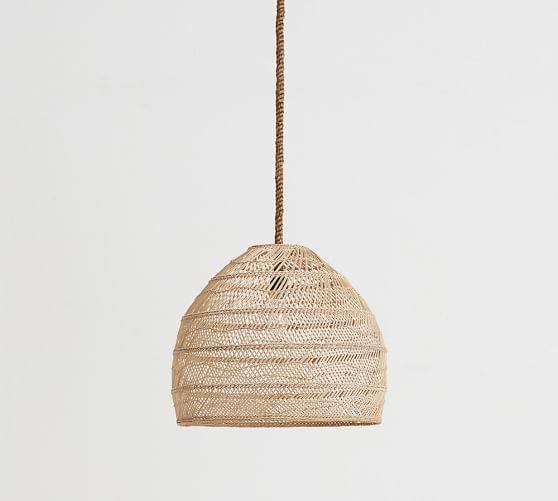 Flora Rattan Pendant | Pottery Barn In Rattan Pendant Lighting (#10 of 15)