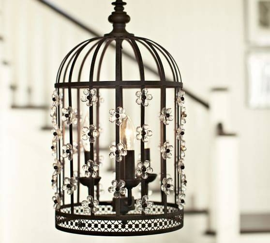 Floral Birdcage Lantern | Pottery Barn Pertaining To Birdcage Lights Fixtures (#11 of 15)
