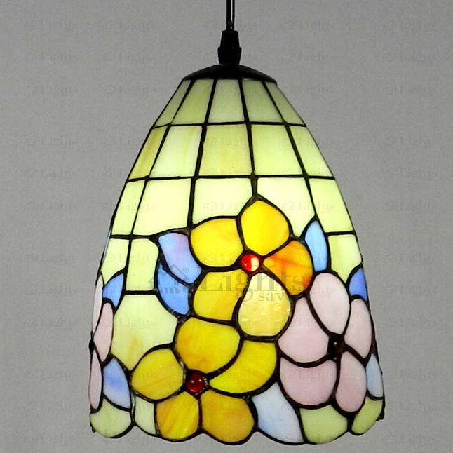 Floral Stained Glass Tiffany Mini Pendant Light With Regard To Tiffany Mini Pendant Lights (View 13 of 15)