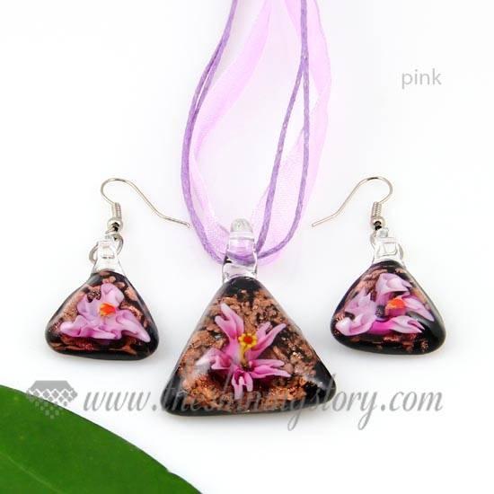 Flower Glitter Venetian Murano Glass Pendants And Earrings Jewelry Within Venetian Glass Pendants (#5 of 15)
