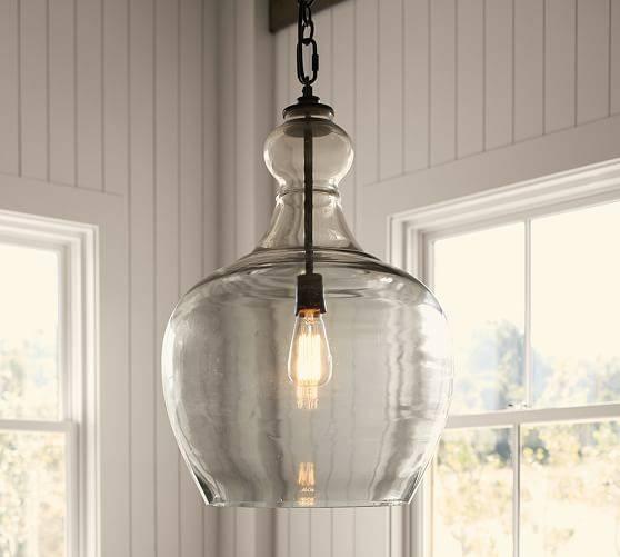 Flynn Recycled Glass Pendant | Pottery Barn Pertaining To Demijohn Pendant Lights (#11 of 15)