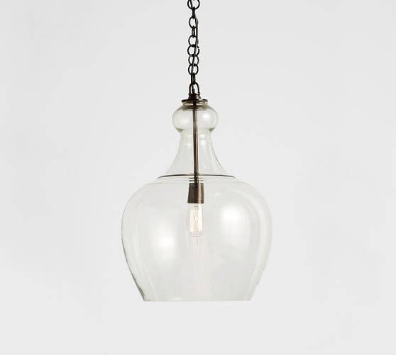 Flynn Recycled Glass Pendant | Pottery Barn With Regard To Recycled Glass Pendants (View 3 of 15)