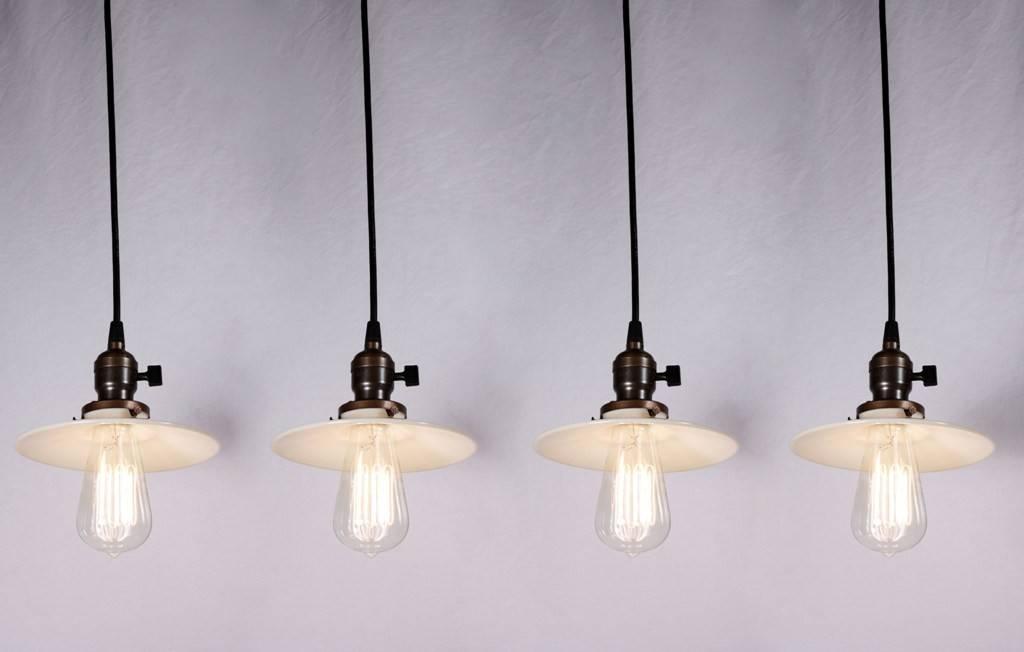 Four Matching Antique Industrial Pendant Lights With Milk Glass Regarding Milk Glass Pendant Light Fixtures (#6 of 15)