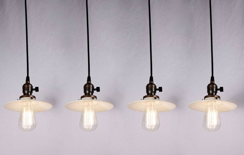 Four Matching Antique Industrial Pendant Lights With Milk Glass With Regard To Milk Glass Pendant Lights (View 4 of 15)