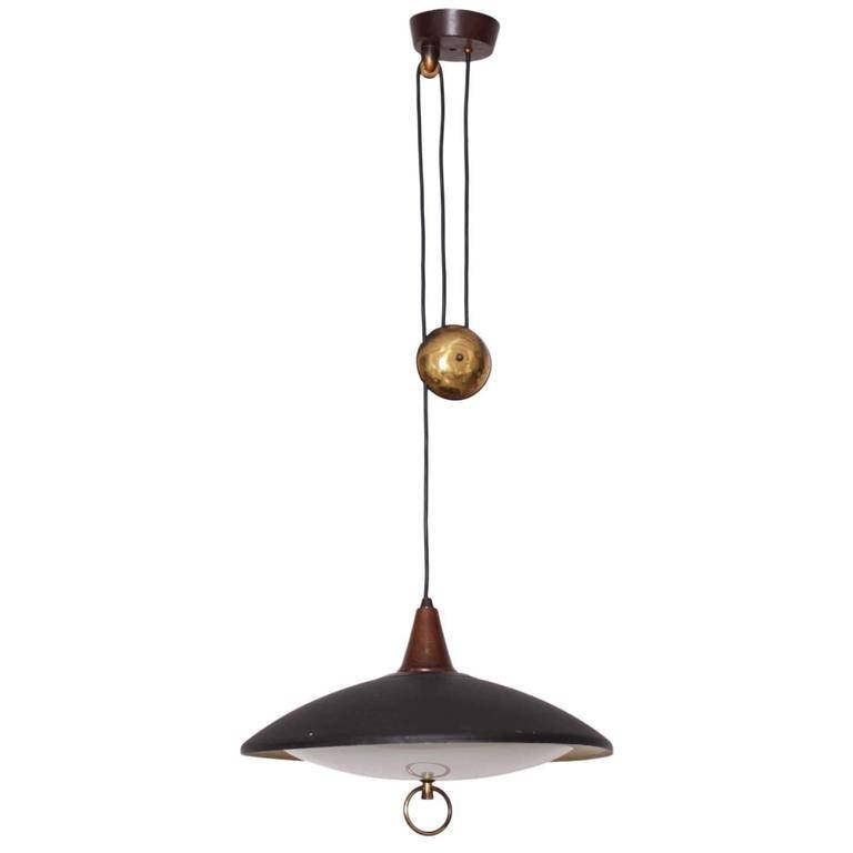 French 1950S Counterweight Pendant Lamp In Metal And Wood At 1Stdibs Regarding Counterweight Pendant Lights (#8 of 15)