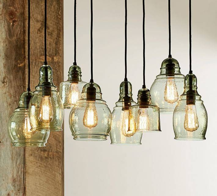 Glass Shade Pendant Lighting | Pottery Barn In Paxton Glass 8 Lights Pendants (#3 of 15)