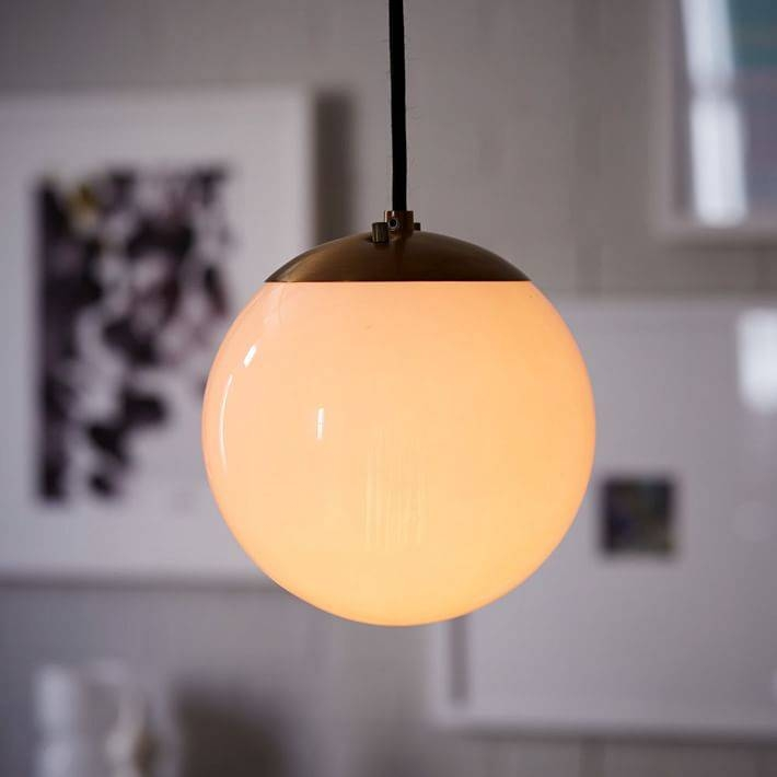 Globe Pendant – Antique Brass/milk Finish | West Elm Throughout Milk Glass Lights Fixtures (View 11 of 15)