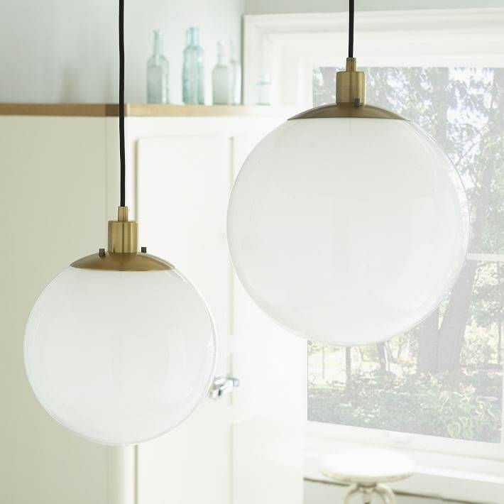Inspiration about Globe Pendant – Antique Brass/milk Finish | West Elm Throughout Milk Glass Pendant Lights Fixtures (#12 of 15)