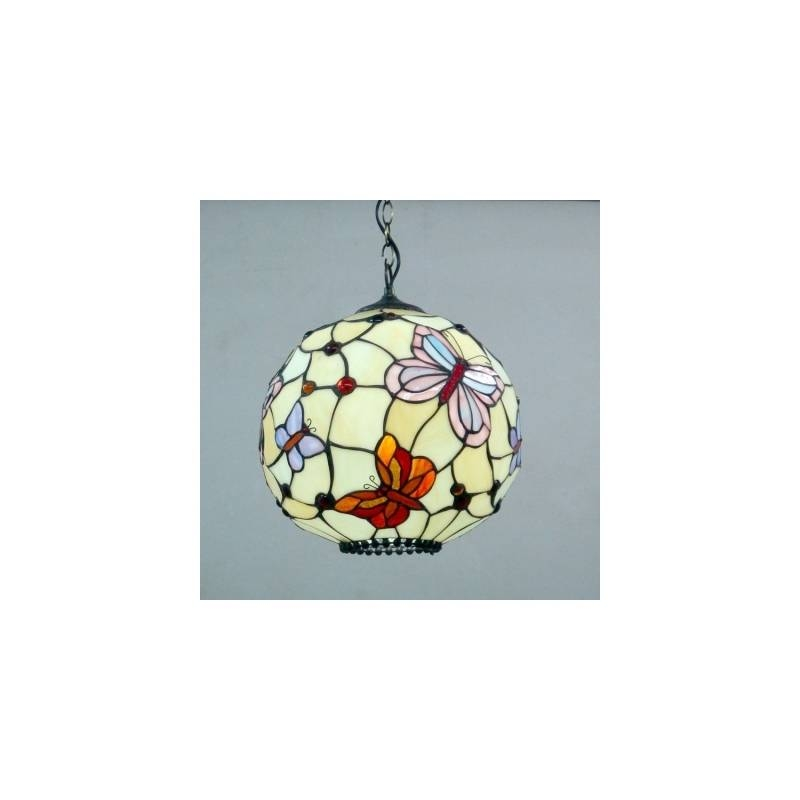 Globe Shape Butterfly Pattern 12 Inch Hanging Pendant Lighting In With Regard To Stained Glass Pendant Lights (#10 of 15)