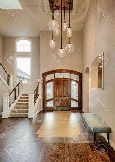 Gorgeous Beautiful Foyer In Home Entryway With Stairs Pendant With Regard To Entryway Pendant Lighting (#5 of 15)