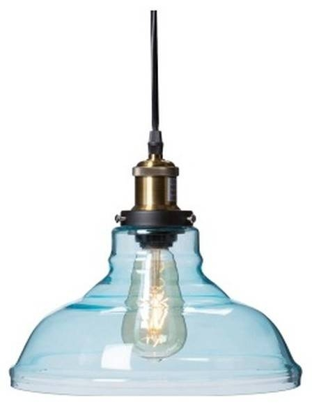 Gracelyn Colored Glass Bell Pendant Lamp, Soft Aqua – Industrial Intended For Aqua Pendant Lights (View 13 of 15)