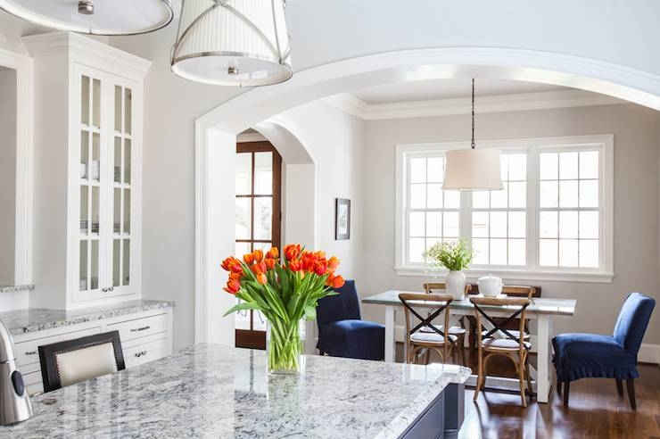 Gray Kitchen Island With Gray Granite Countertop – Transitional With Regard To Grosvenor Pendant Lights (#6 of 15)