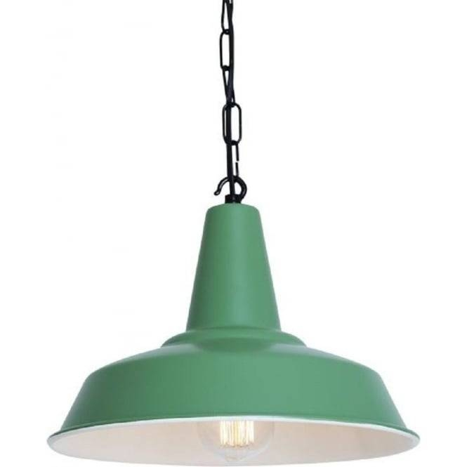 Green Industrial Style Tin Pendant Light On Black Chain Suspension Regarding Tin Pendant Lights (#8 of 15)