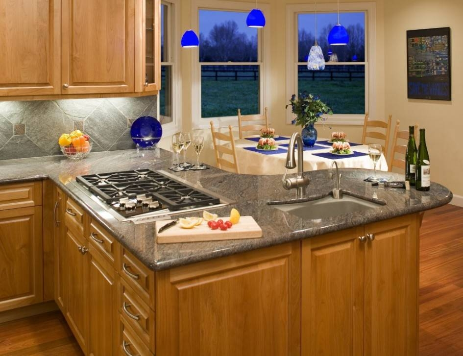 Inspiration about Gripping Kitchen Layouts With Island Sink And 5 Burner Gas Cooktop For Cobalt Blue Mini Pendant Lights (#14 of 15)