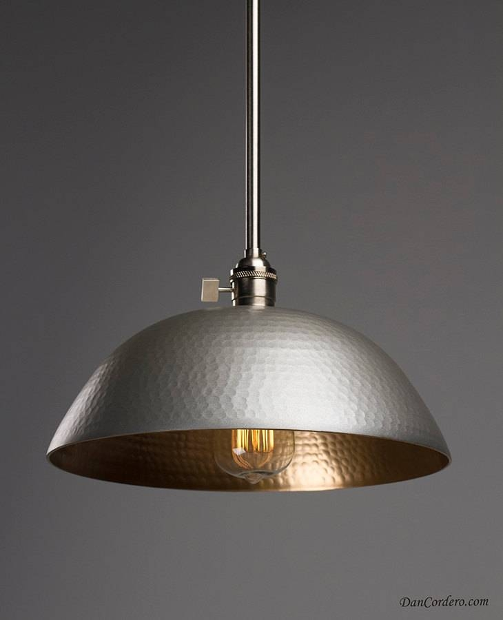 Hammered Gold & Brushed Nickel Edison Bulb Pendant Light Fixture Throughout Hammered Metal Pendant Lights (View 11 of 15)