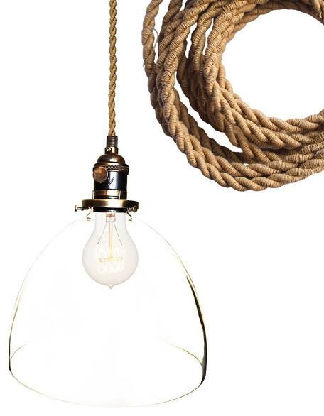 """Hand Blown 8"""" Clear Glass Ship Rope Cord Pendant Light – Pendant Within Rope Cord Pendant Lights (View 6 of 15)"""