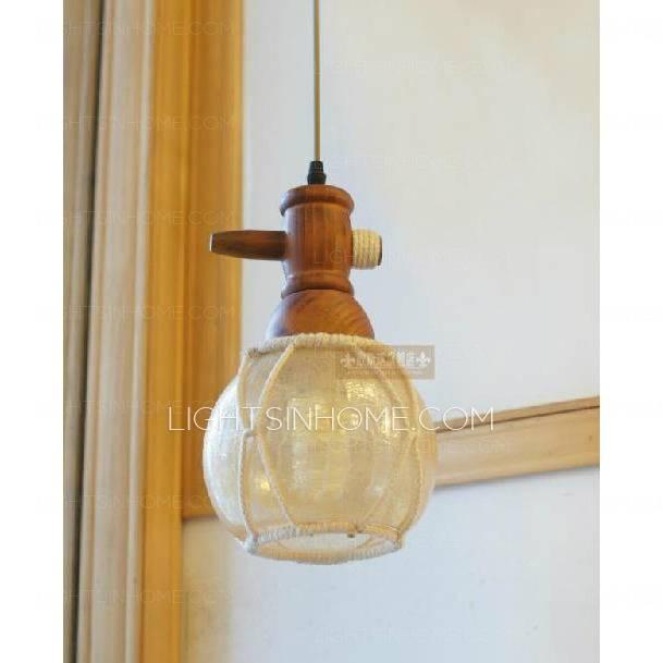 Hand Blown Glass Mini Pendant Lights Wooden Fixture Pertaining To Hand Blown Glass Mini Pendant Lights (View 8 of 15)